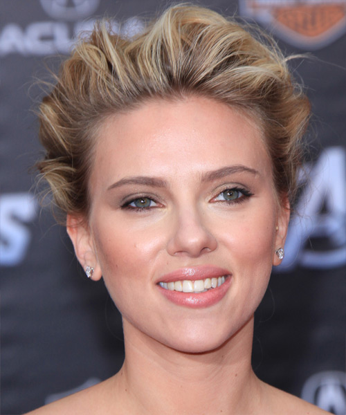 Scarlett Johansson - Formal Updo Medium Curly Hairstyle
