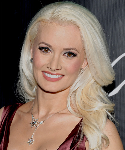 Holly Madison Long Wavy Hairstyle - Light Blonde (Platinum)