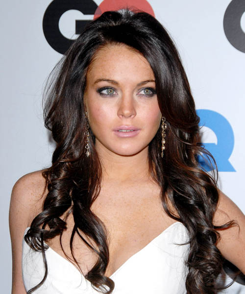 Lindsay Lohan Long Wavy Formal Hairstyle - Dark Brunette (Mocha) Hair Color