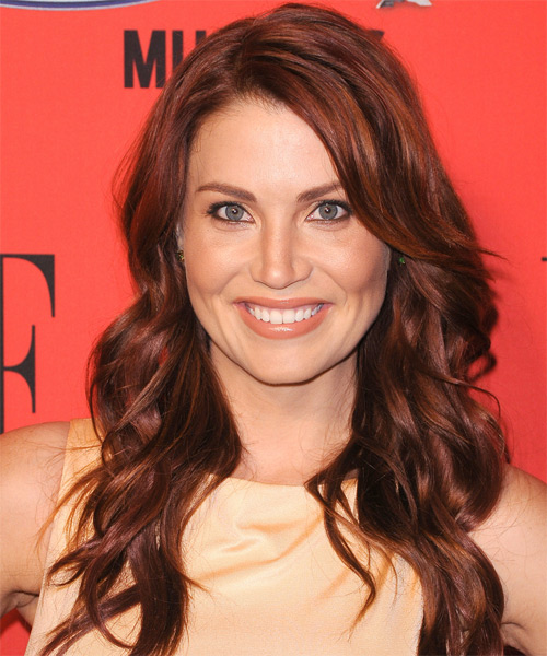 Willa Ford Long Wavy Casual Hairstyle - Medium Brunette (Auburn) Hair Color