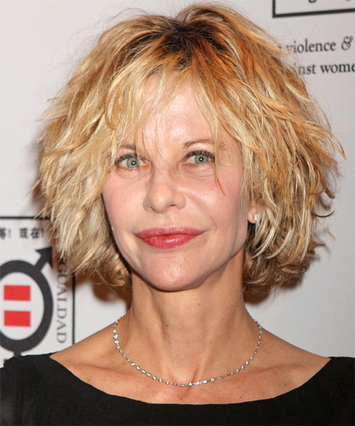 Meg Ryan Short Wavy Casual Shag Hairstyle with Layered Bangs - Light Blonde (Golden) Hair Color