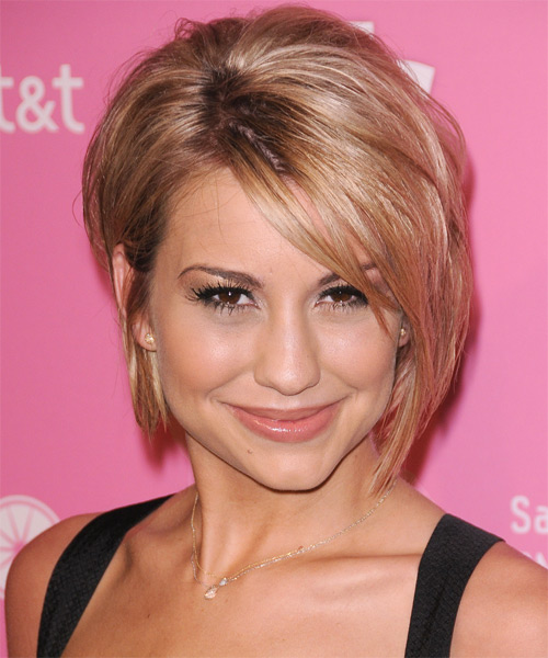 Chelsea Kane Short Straight Casual Bob Hairstyle with Side Swept Bangs - Medium Blonde (Champagne) Hair Color