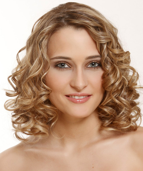 Medium Curly Formal Hairstyle - Dark Blonde (Golden)