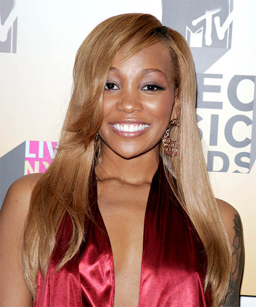 Monica Long Straight Blonde hairstyle - Dark Skin Tone