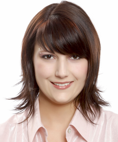 Medium Straight Casual Bob Hairstyle with Layered Bangs - Dark Brunette Hair Color