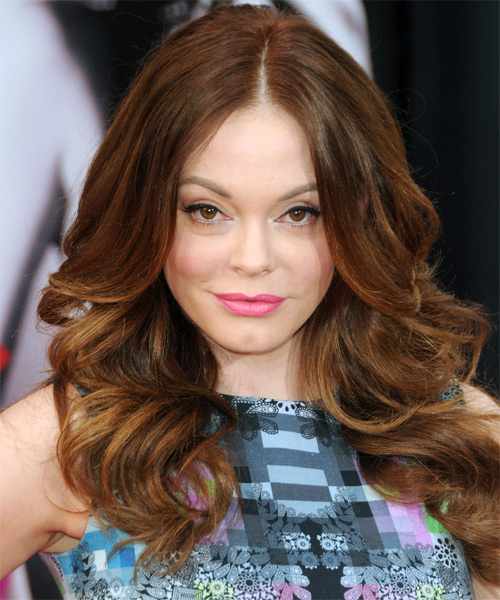 Rose McGowan Long Wavy Hairstyle - Medium Brunette (Auburn)