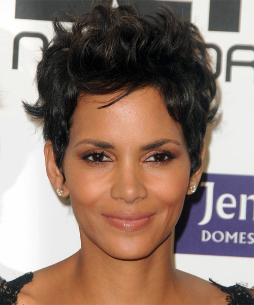 Halle Berry Short Straight Casual Hairstyle - Dark Brunette Hair Color