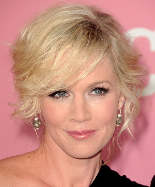 Jennie Garth Curly Formal Updo Hairstyle with Side Swept Bangs - Light Blonde Hair Color