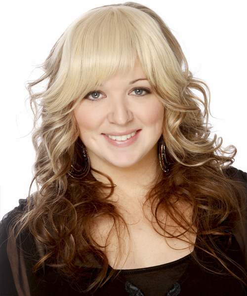 Long Wavy Formal Hairstyle with Layered Bangs - Light Blonde Hair Color