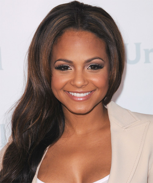 Christina Milian Long Straight Casual Hairstyle - Dark Brunette Hair Color