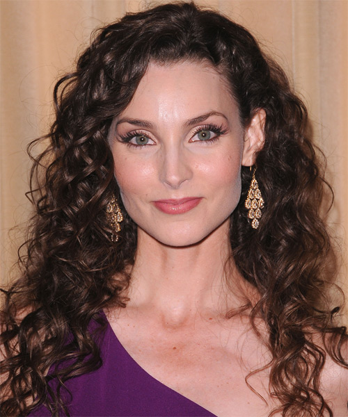 Alicia Minshew Long Curly Casual Hairstyle - Dark Brunette Hair Color