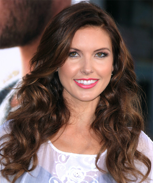 Audrina Patridge Long Wavy Hairstyle - Dark Brunette (Mocha)