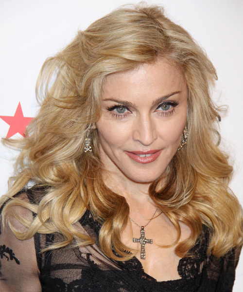 Madonna Long Wavy Casual Hairstyle - Light Blonde (Golden) Hair Color