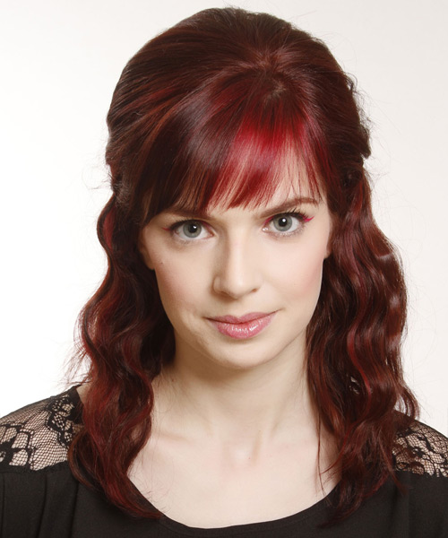 Updo Medium Curly Casual Half Up Hairstyle with Layered Bangs - Dark Red Hair Color