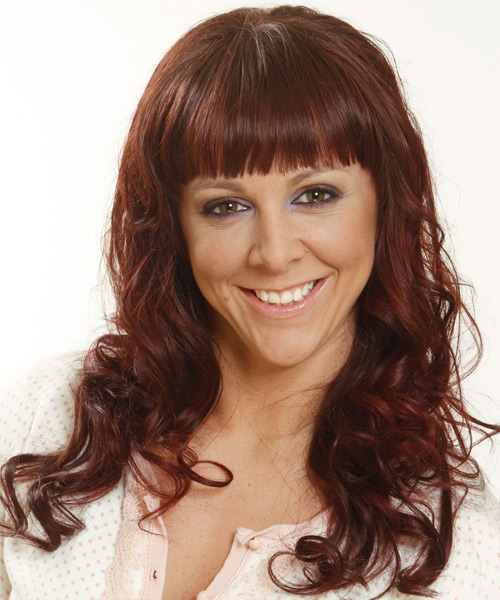 Long Wavy Casual Hairstyle with Blunt Cut Bangs - Medium Brunette (Mahogany) Hair Color