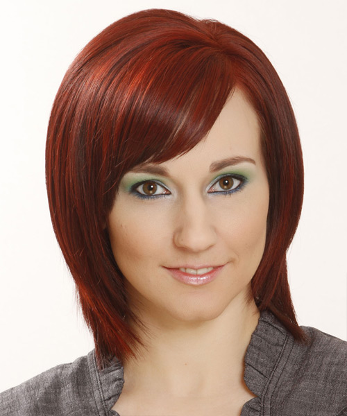 Medium Straight Formal Bob with Side Swept Bangs - Medium Red