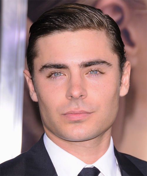 Zac Efron Short Straight Formal Hairstyle - Dark Brunette Hair Color