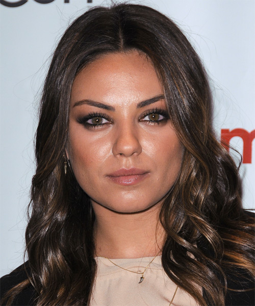 Mila Kunis Long Wavy Casual Hairstyle - Dark Brunette Hair Color