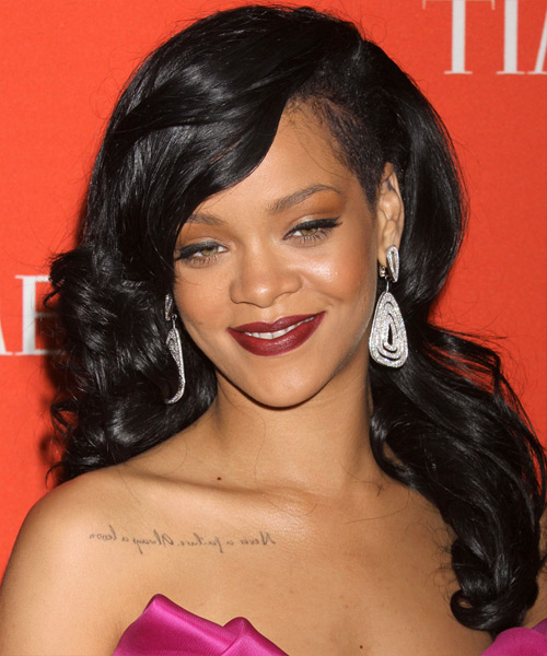 Rihanna Long Wavy Formal Hairstyle - Black Hair Color