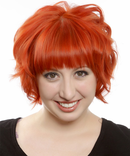 Short Wavy Formal Emo Hairstyle with Layered Bangs - Orange Hair Color