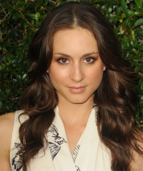 Troian Bellisario Long Wavy Hairstyle - Medium Brunette (Auburn)