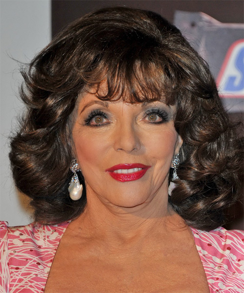 Joan Collins Medium Wavy Hairstyle - Dark Brunette