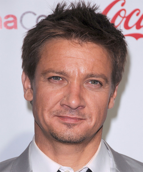 Jeremy Renner Short Straight Hairstyle - Medium Brunette