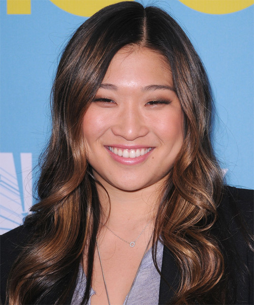Jenna Ushkowitz Long Wavy Formal Hairstyle - Dark Brunette Hair Color
