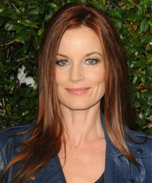 Laura Leighton Long Straight Hairstyle - Medium Brunette (Auburn)