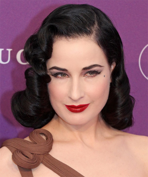 Dita Von Teese Medium Wavy Formal Hairstyle - Dark Brunette Hair Color