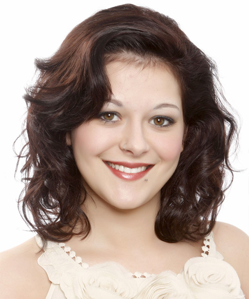 Medium Wavy Casual Hairstyle - Dark Brunette (Auburn)