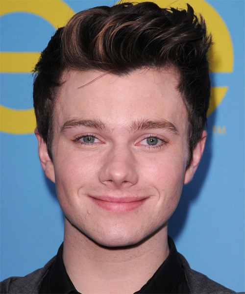 Chris Colfer Short Straight Casual Hairstyle - Dark Brunette (Chocolate) Hair Color