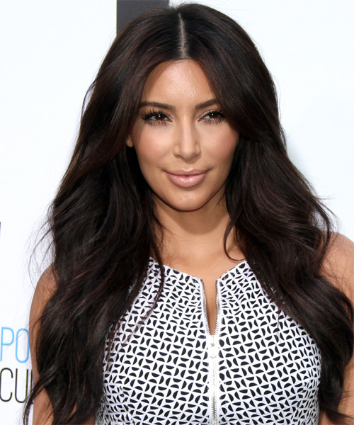 Kim Kardashian Long Straight Casual Hairstyle - Dark Brunette (Mocha) Hair Color