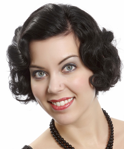Short Curly Formal Bob Hairstyle - Black Hair Color