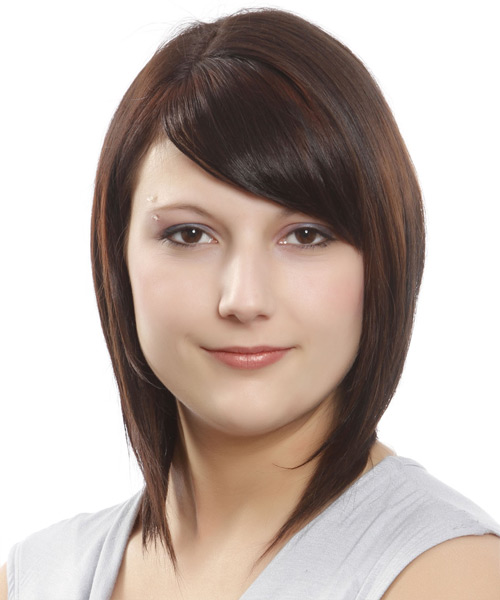 Medium Straight Formal Bob Hairstyle with Side Swept Bangs - Dark Brunette (Mocha) Hair Color
