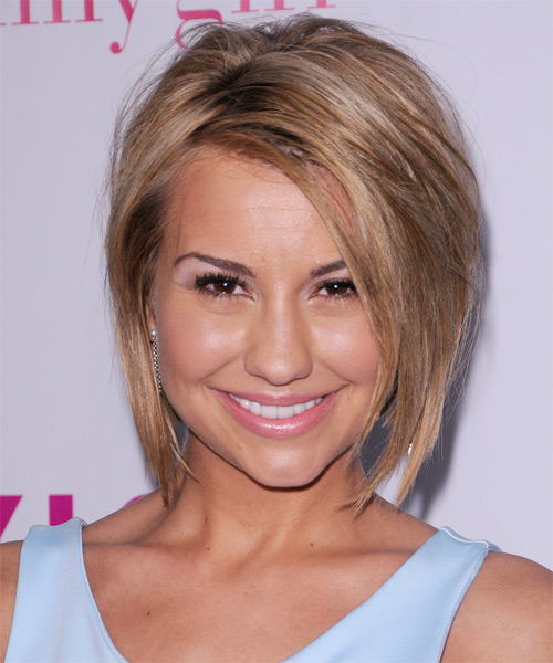 Chelsea Kane Short Straight Casual Bob Hairstyle with Side Swept Bangs - Light Brunette (Caramel) Hair Color