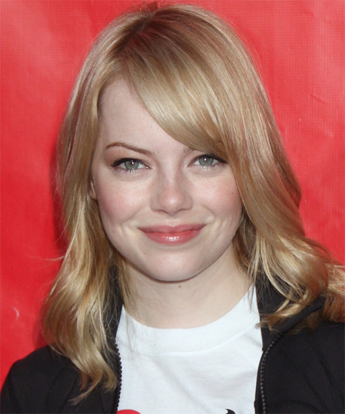 Emma Stone Medium Straight Casual Hairstyle with Side Swept Bangs - Medium Brunette (Strawberry) Hair Color