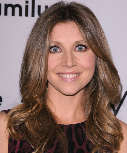 Sarah Chalke Long Straight Formal Hairstyle - Medium Brunette (Chestnut) Hair Color