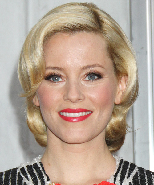 Elizabeth Banks Short Wavy Casual Bob Hairstyle with Side Swept Bangs - Medium Blonde Hair Color