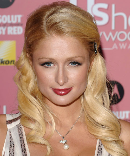 Paris Hilton Curly Formal Half Up Hairstyle - Medium Blonde (Honey) Hair Color