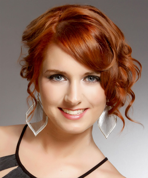 Curly Formal Updo Hairstyle with Side Swept Bangs - Medium Red (Copper) Hair Color