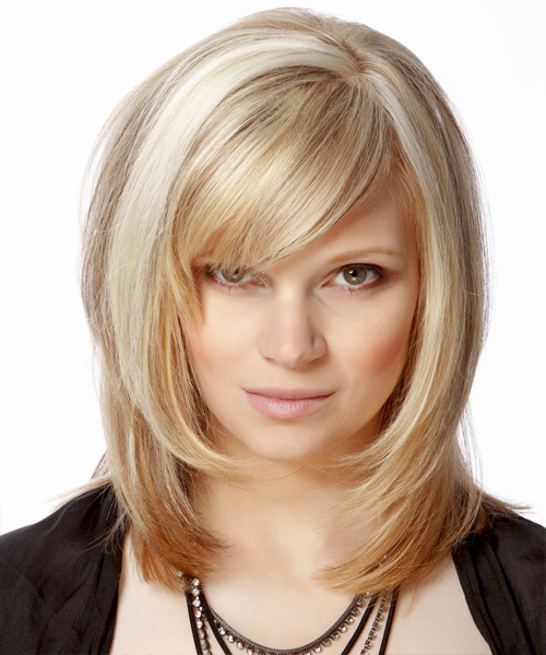Medium Straight Formal Hairstyle with Side Swept Bangs - Light Blonde (Champagne) Hair Color