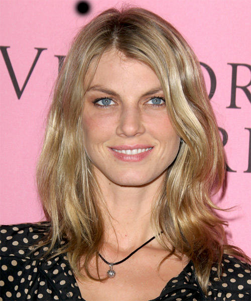 Angela Lindvall  Medium Straight Casual Hairstyle - Medium Blonde Hair Color