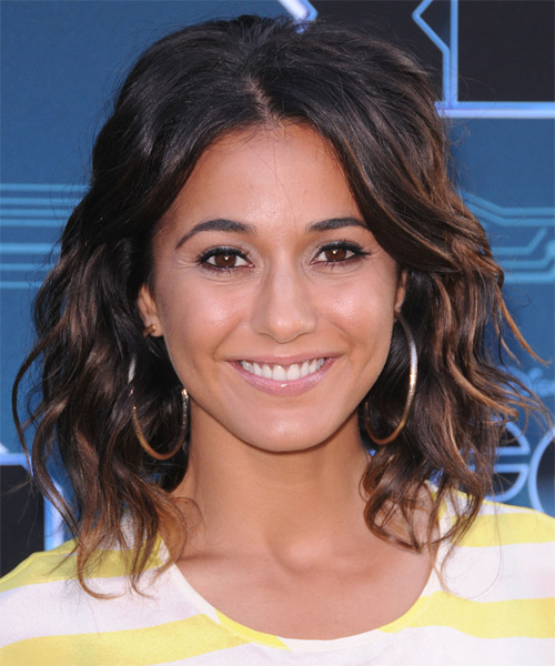 Emmanuelle Chriqui Medium Wavy Casual Shag Hairstyle - Dark Brunette Hair Color