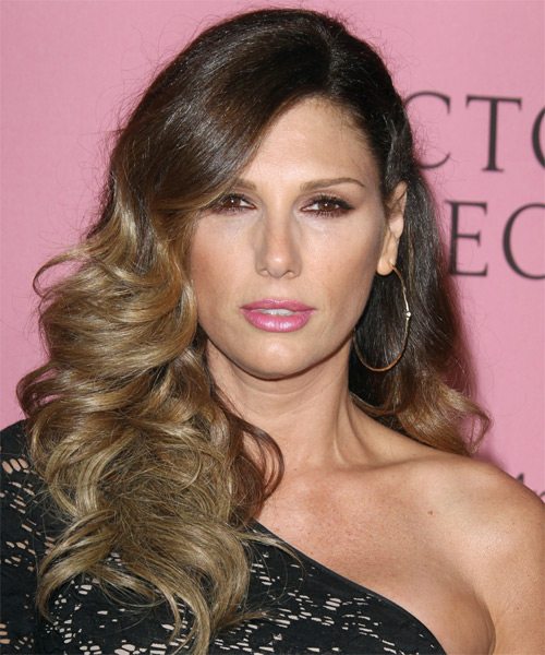 Daisy Fuentes Long Wavy Formal Hairstyle - Medium Brunette (Caramel) Hair Color