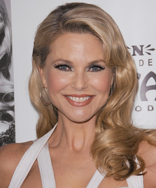 Christie Brinkley Long Wavy Formal Hairstyle - Medium Blonde (Champagne) Hair Color
