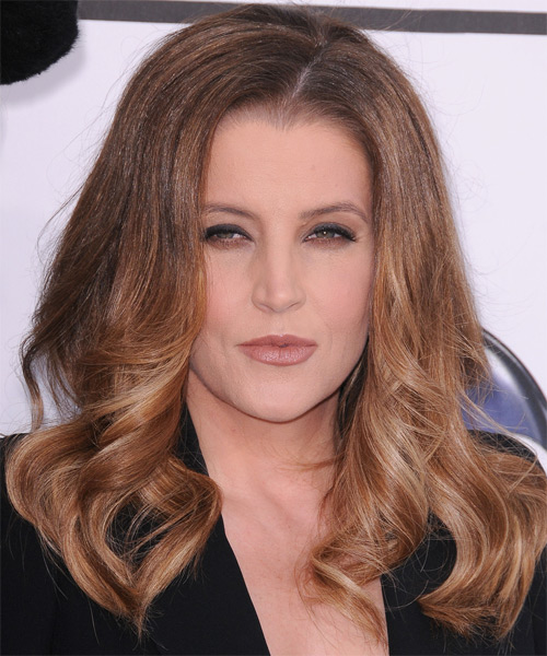Lisa Maire Presley Long Wavy Formal Hairstyle - Light Brunette (Caramel) Hair Color