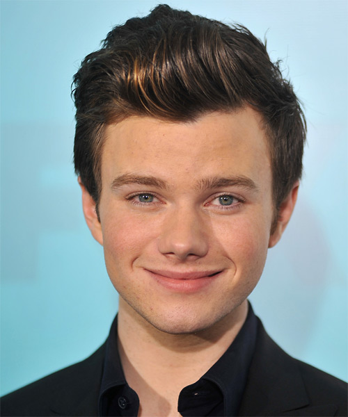 Chris Colfer Short Straight Hairstyle - Medium Brunette (Chocolate)