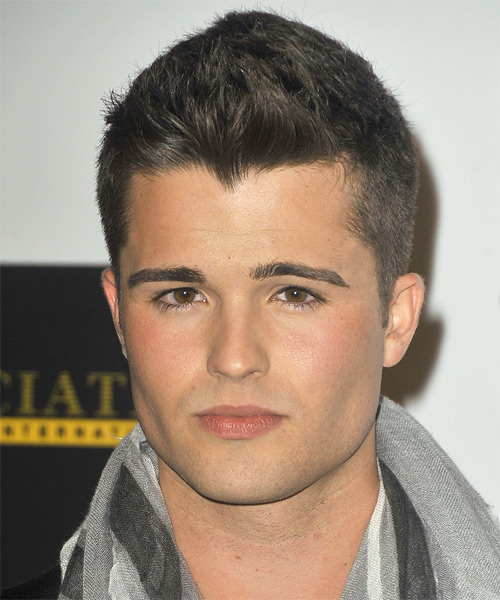 Spencer Boldman Short Straight Hairstyle - Dark Brunette (Ash)