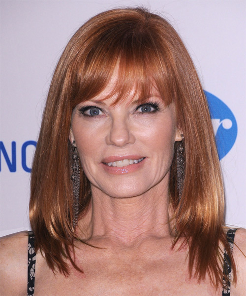 Marg Helgenberger Medium Straight Formal  with Layered Bangs - Medium Red (Copper)